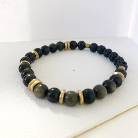 golden obsidian essential oil diffuser bracelet