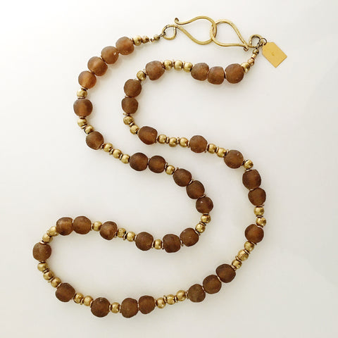 golden brown recycled glass necklace
