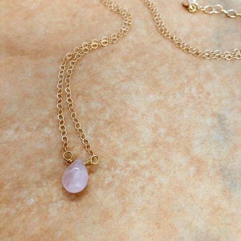 juno necklace in rose quartz