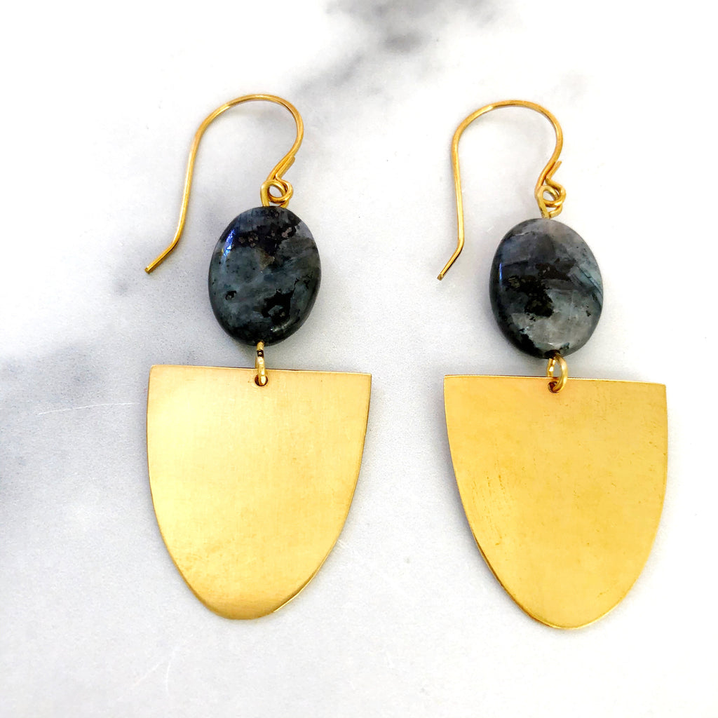 Larvikite and Raw Brass Earrings