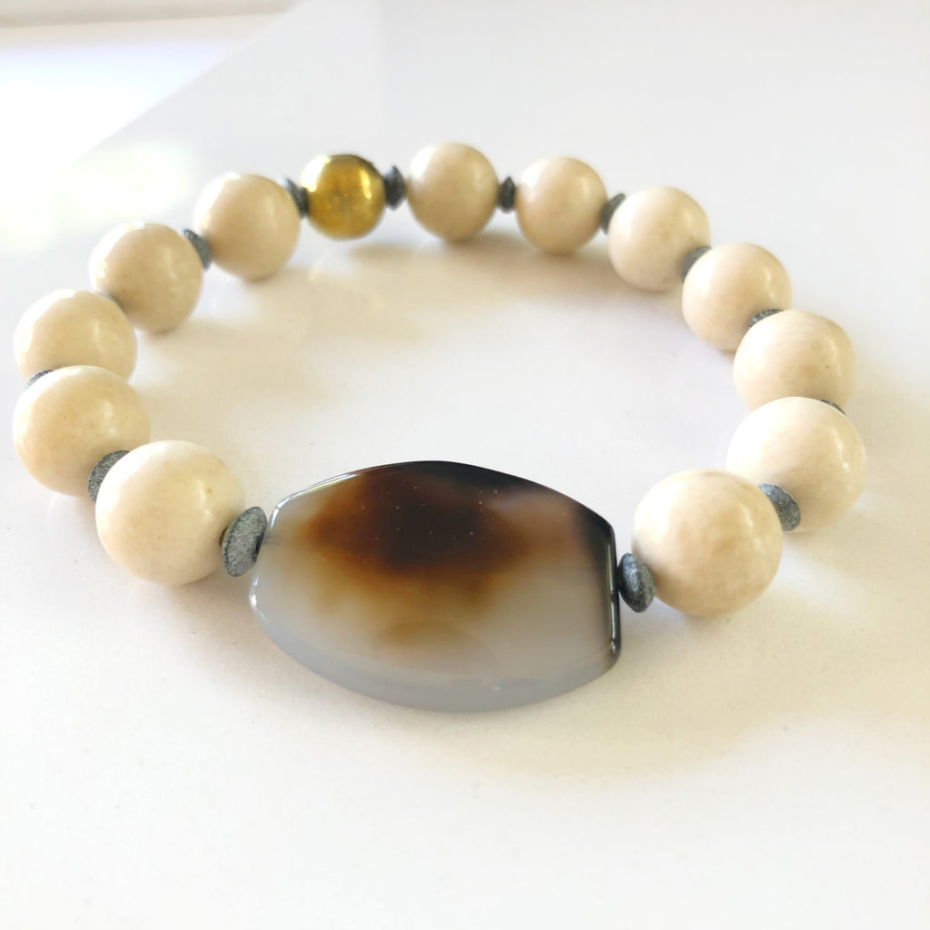 Opal Agate and Fossilized Jasper Bracelet