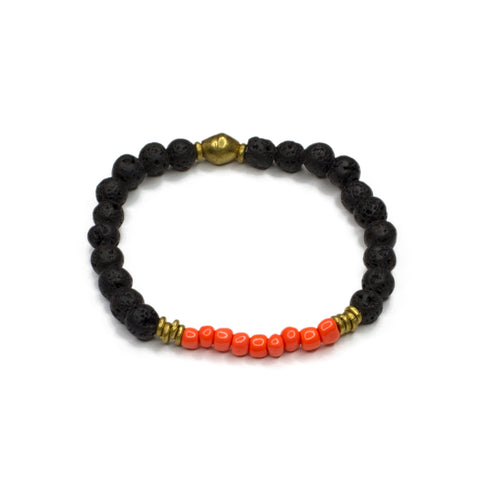 orange vintage glass + lava bead bracelet