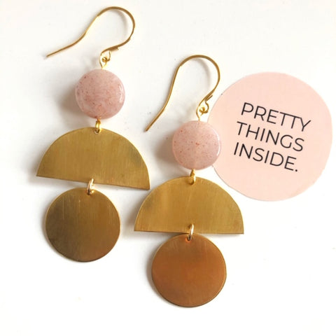 Peach Moonstone + Raw Brass Earrings