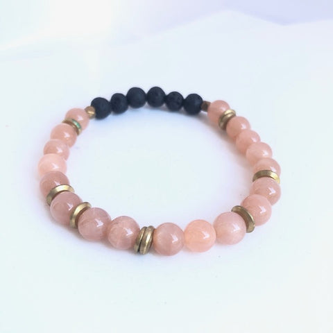peach moonstone essential oil diffuser bracelet