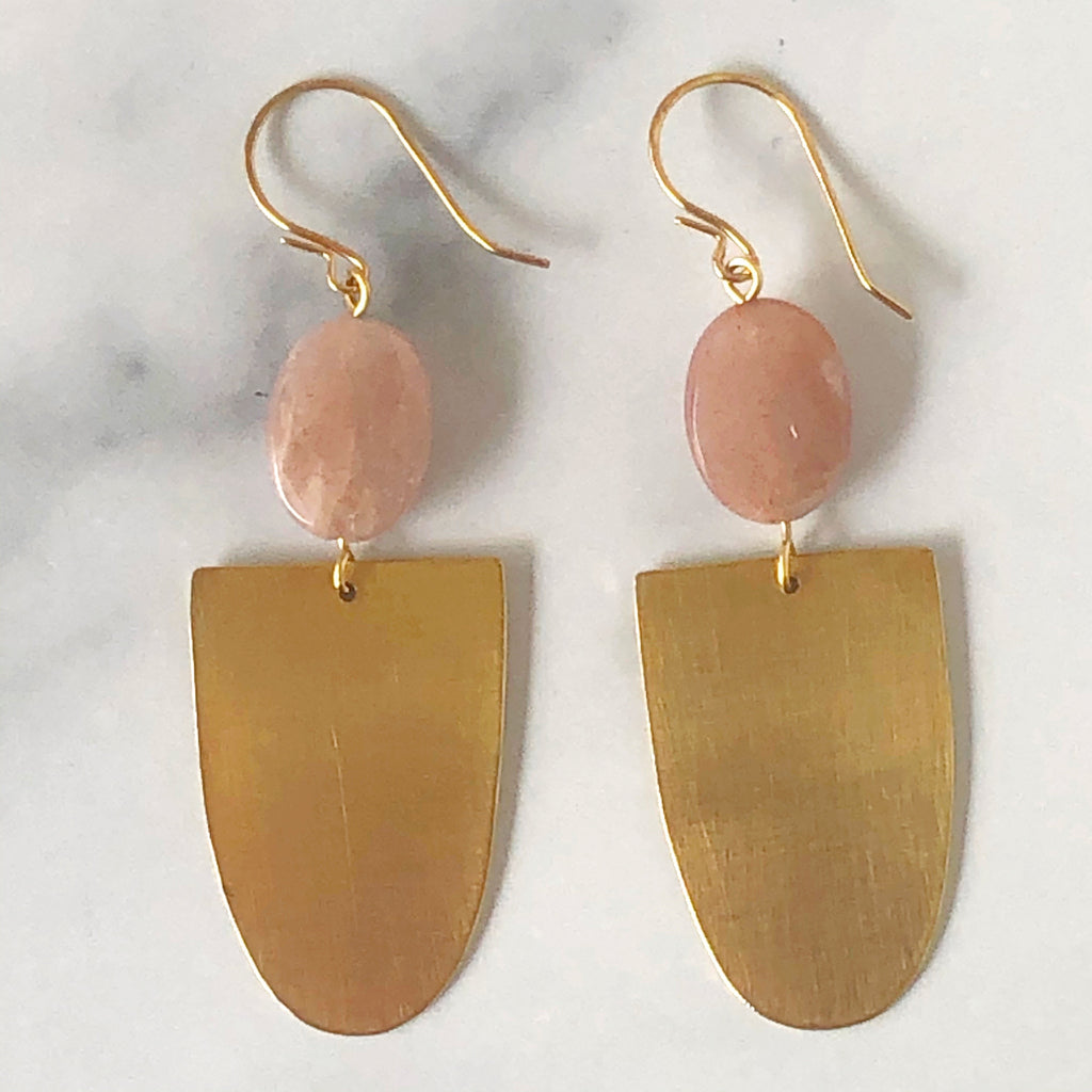 Peach Moonstone + Raw Brass