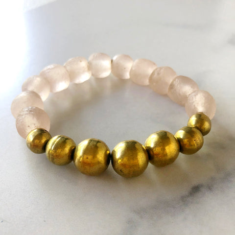 eclipse pink with gold recycled glass bracelet