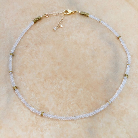 theia necklace in clear quartz