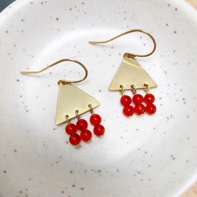 Brass triangle earrings with carnelian gemstones