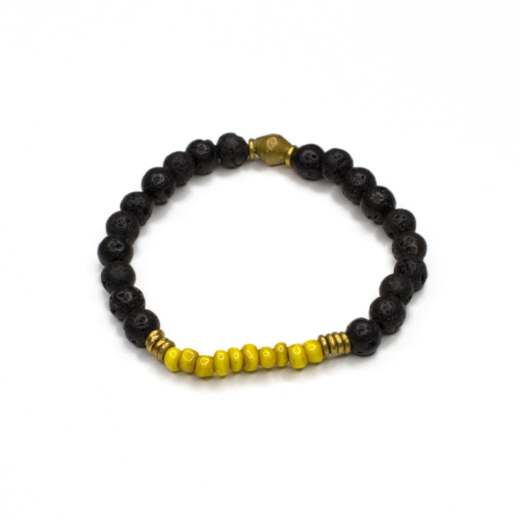 yellow vintage glass + lava bead bracelet