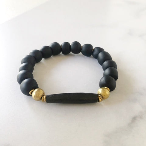 black recycled glass & bone bracelet