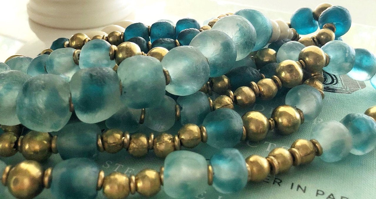 Cabine's Blue Recycled Glass Necklace