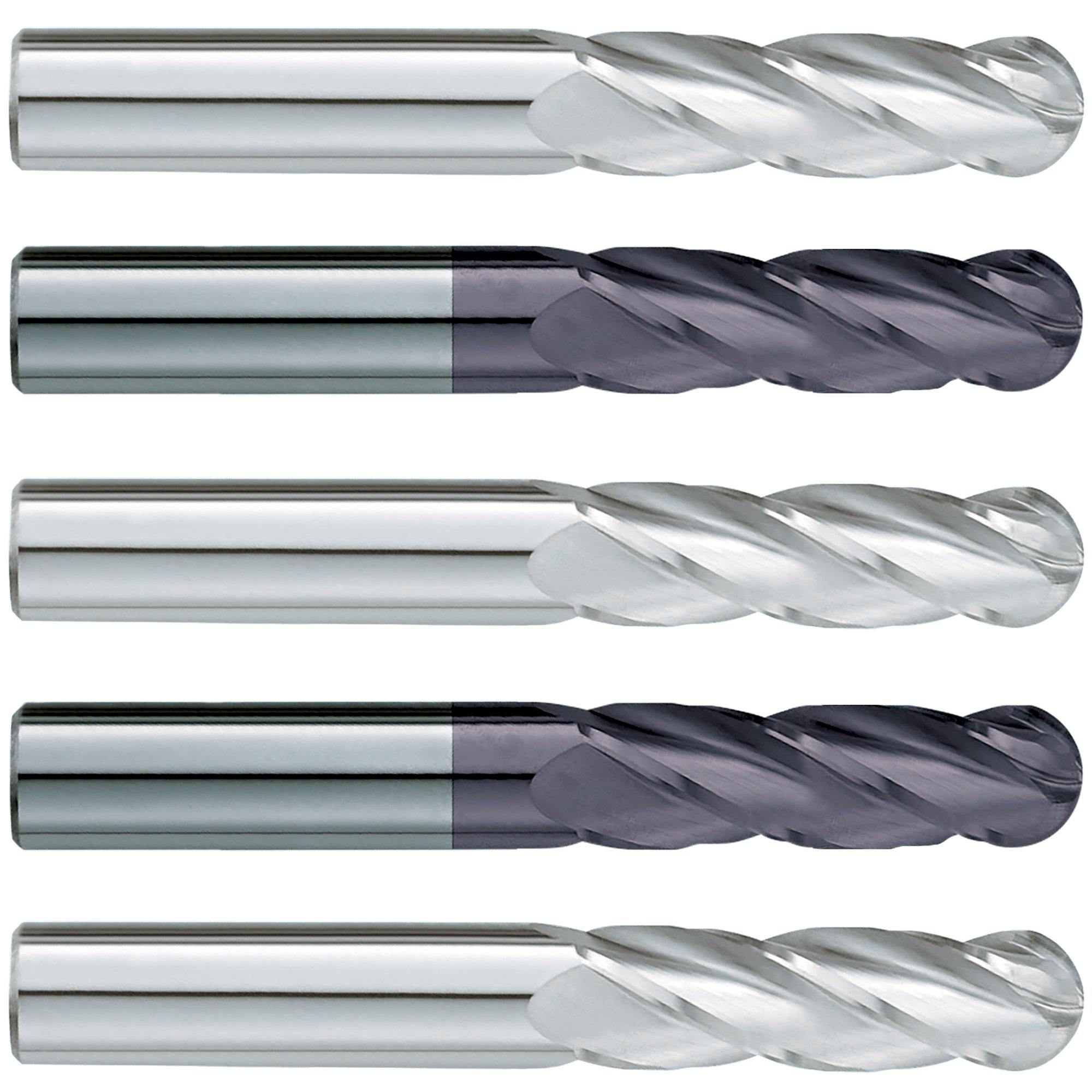 "(5 Pack) 1/8"" x 3/4"" x 2-1/2"" Long Ballnose Carbide End Mill - End Mill Store"