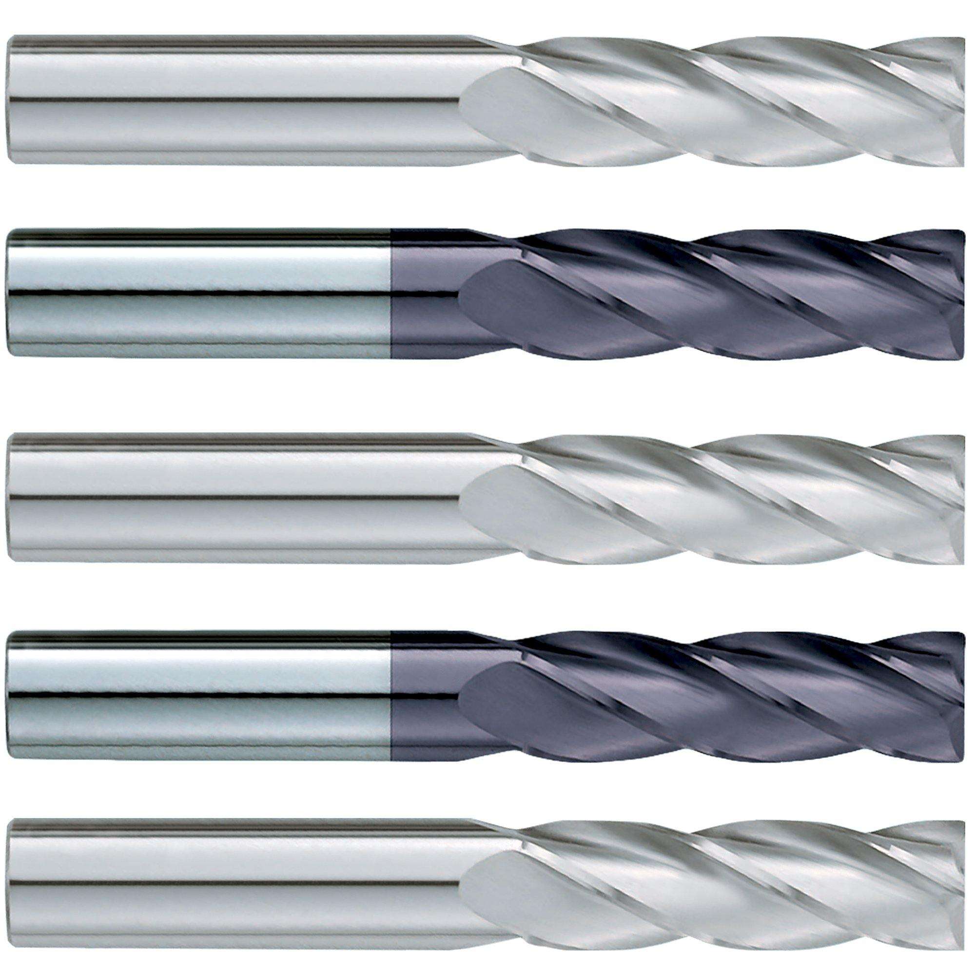 (5 Pack) 4mm x 50mm x 100mm Metric Extra Long Square Carbide End Mill - End Mill Store