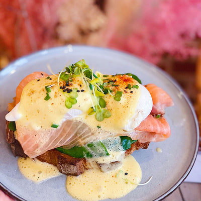 creme brussels signature toast poached eggs anf salmon