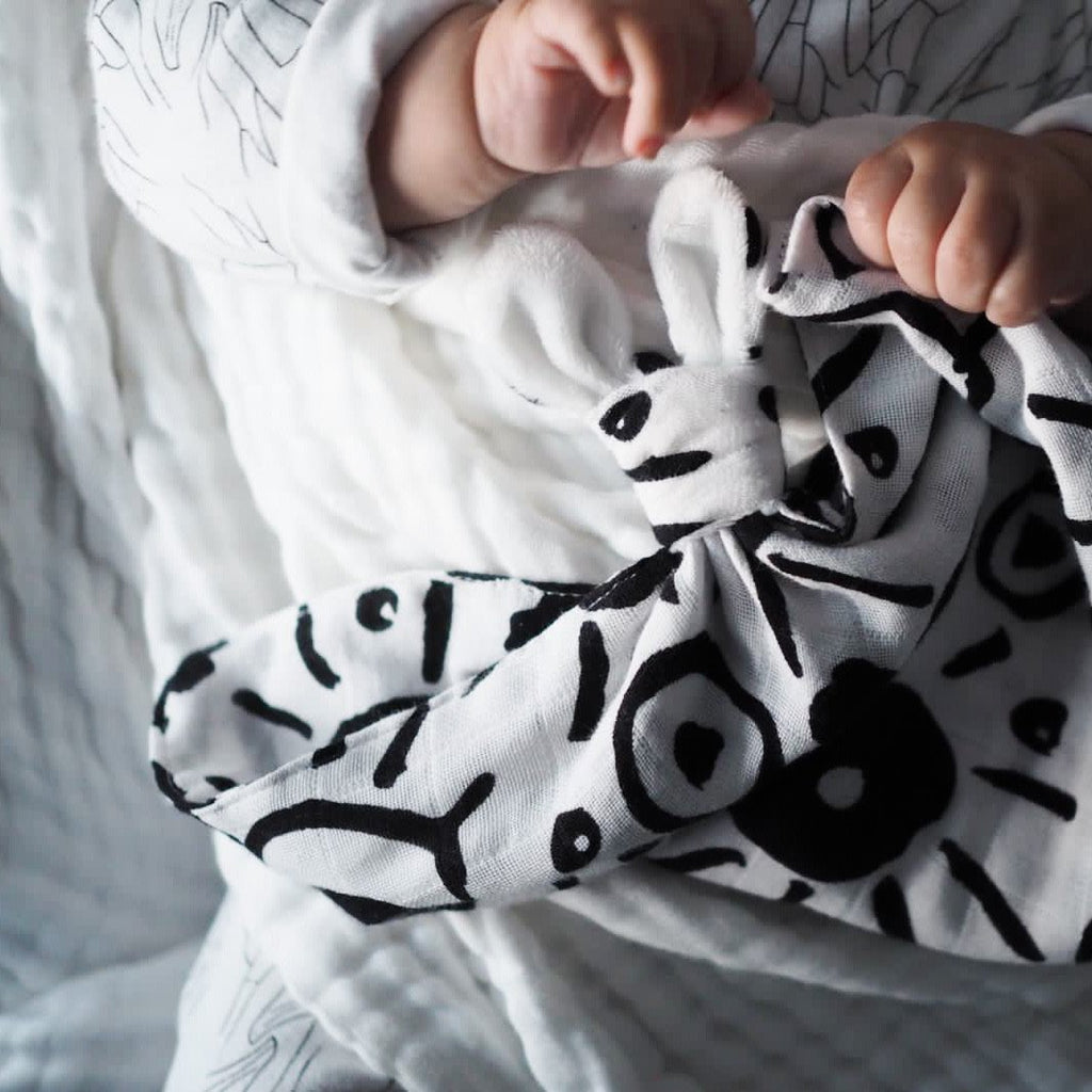 Monochrome Muslin Lovey | With Plush Ears | Etta Loves