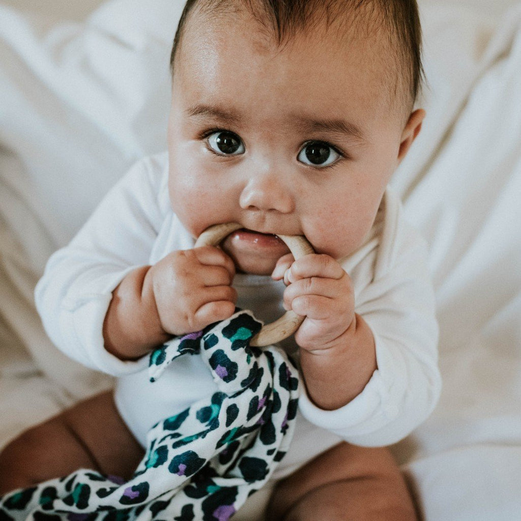 Wooden teething ring and muslin lovey | Etta Loves