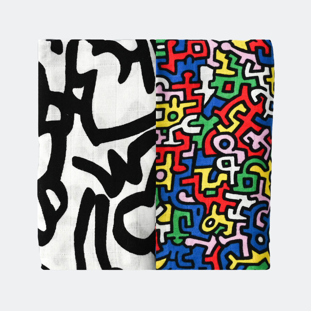 ETTA LOVES x KEITH HARING 2-PACK MUSLIN SQUARES - for 0 to 4 months & 5+ month old babies