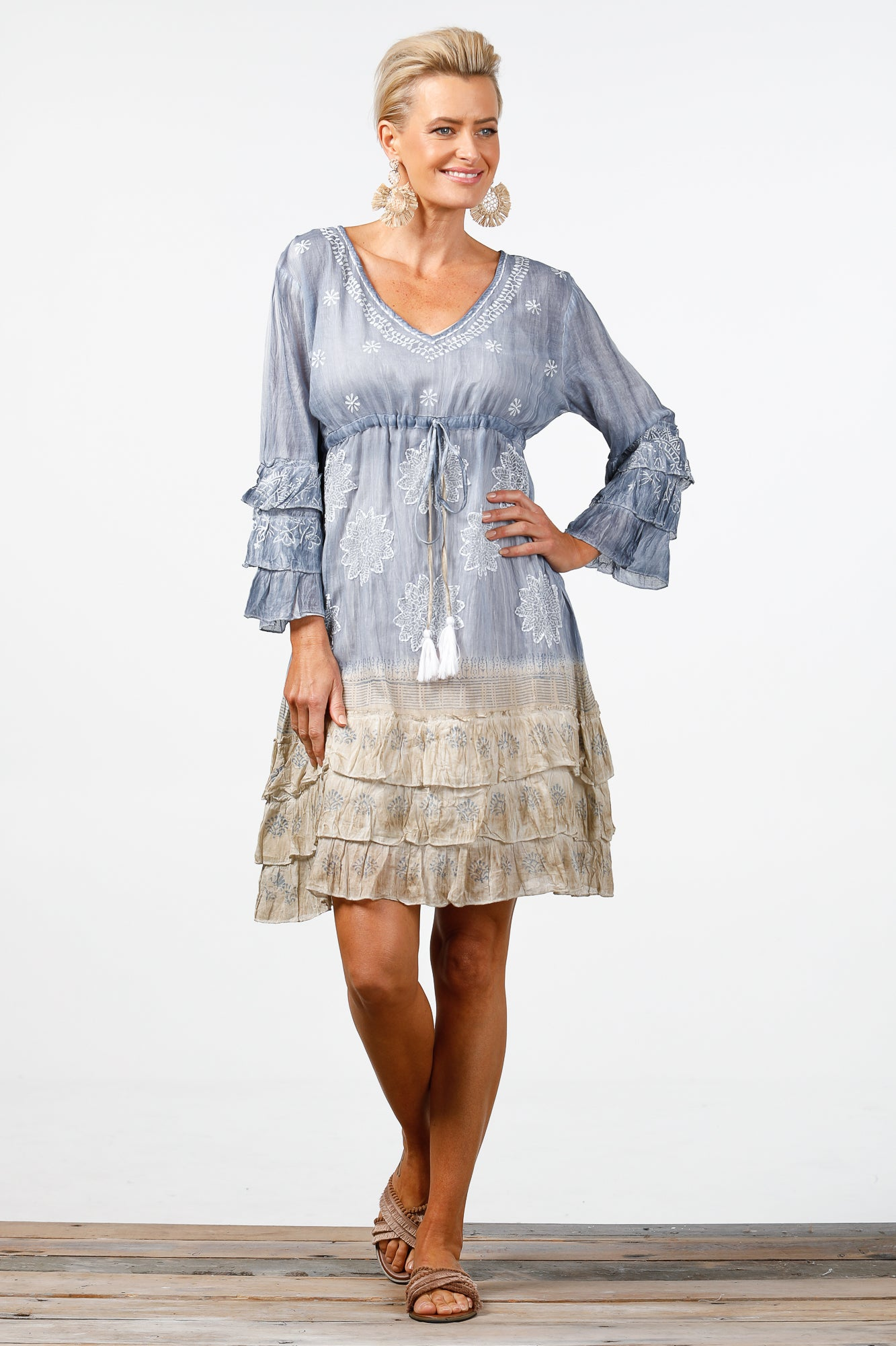 Outrigger Dress Blue and Taupe