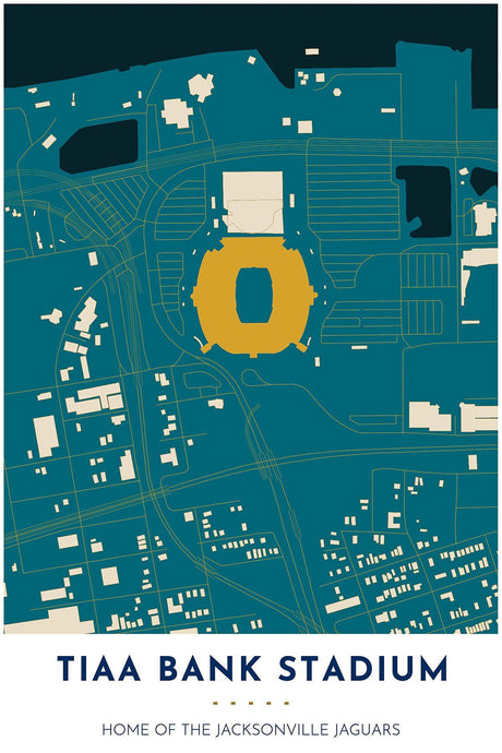 Jacksonville Jaguars Map - TIAA Bank Stadium - Tapestry Maps