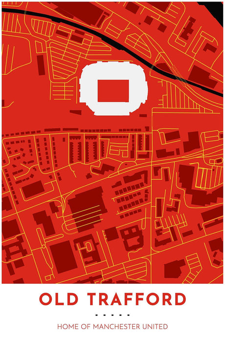 Manchester United Map - Old Trafford - Tapestry Maps