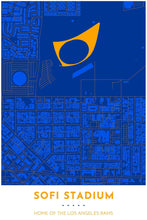 Load image into Gallery viewer, Los Angeles Rams Map - SoFi Stadium - Tapestry Maps