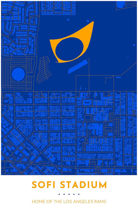Los Angeles Rams Map - SoFi Stadium - Tapestry Maps