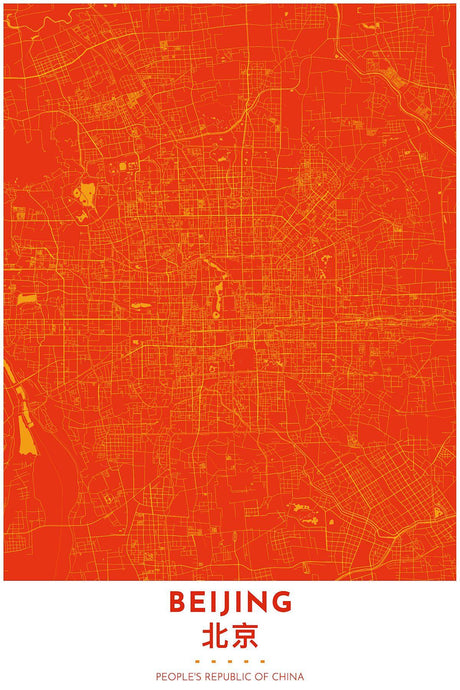 Map Print of Beijing, China - Tapestry Maps
