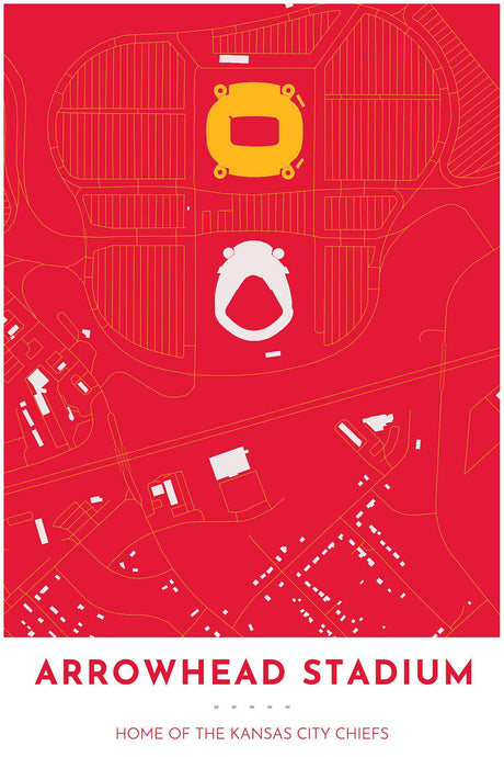 Kansas City Chiefs Map - Arrowhead Stadium - Tapestry Maps