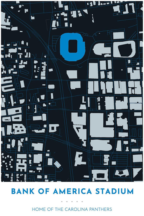 Carolina Panthers Map - Bank of America Stadium - Tapestry Maps