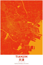 Load image into Gallery viewer, Map Print of Tianjin, China - Tapestry Maps