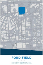Load image into Gallery viewer, Detroit Lions Map - Ford Field Stadium - Tapestry Maps