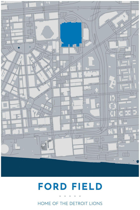Detroit Lions Map - Ford Field Stadium - Tapestry Maps