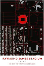 Load image into Gallery viewer, Tampa Bay Buccaneers Map - Raymond James Stadium - Tapestry Maps