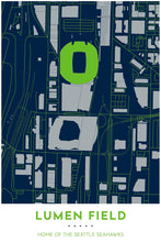 Load image into Gallery viewer, Seattle Seahawks Map - Lumen Field - Tapestry Maps