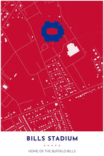 Load image into Gallery viewer, Buffalo Bills Map - Bills Stadium - Tapestry Maps