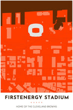 Load image into Gallery viewer, Cleveland Browns Map - FirstEnergy Stadium - Tapestry Maps