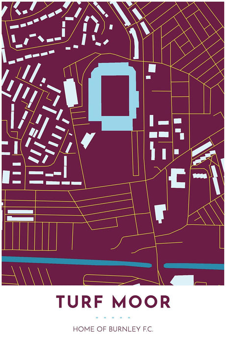Burnley F.C. Map - Turf Moor - Tapestry Maps