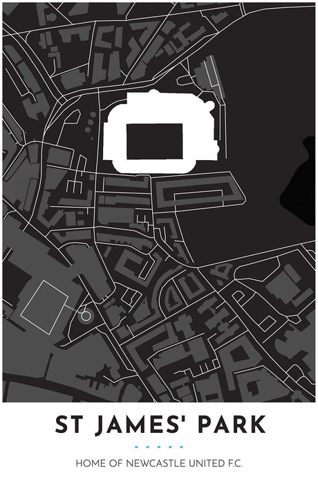 Newcastle United Map - St James' Park - Tapestry Maps
