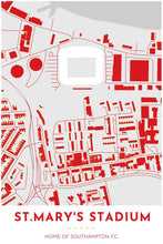 Load image into Gallery viewer, Southampton F.C. Map - St Mary's Stadium - Tapestry Maps