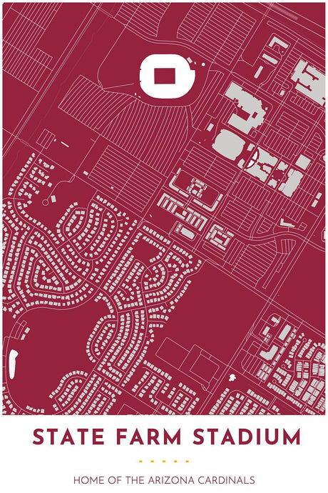 Arizona Cardinals Map - State Farm Stadium - Tapestry Maps