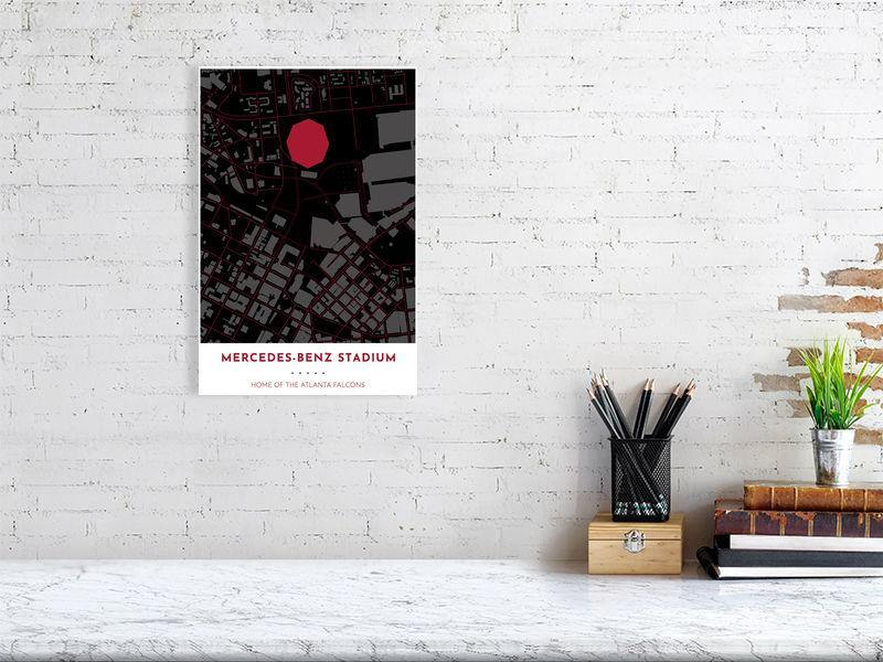 Atlanta Falcons Map - Mercedes-Benz Stadium - Tapestry Maps4329260-993547