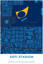 Load image into Gallery viewer, Los Angeles Chargers Map - SoFi Stadium - Tapestry Maps