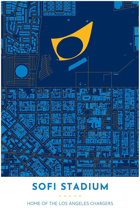 Los Angeles Chargers Map - SoFi Stadium - Tapestry Maps