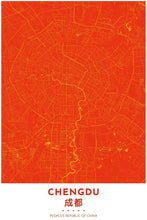 Load image into Gallery viewer, Map Print of Chengdu, China - Tapestry Maps