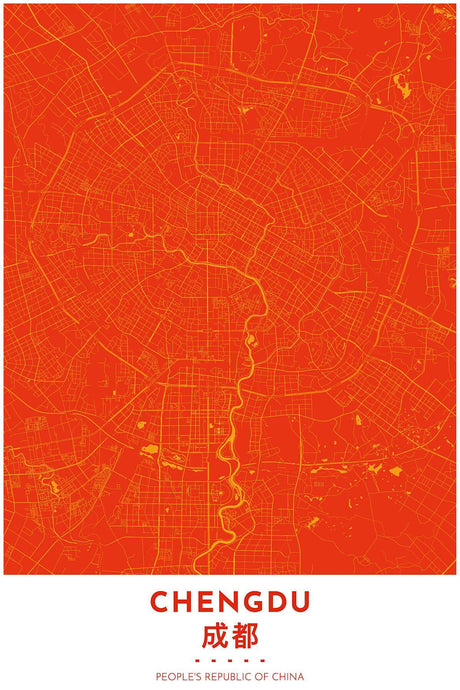 Map Print of Chengdu, China - Tapestry Maps