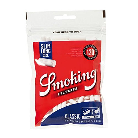 Smoking Classic Cotton Filters Slim Long Size - 120 Tips