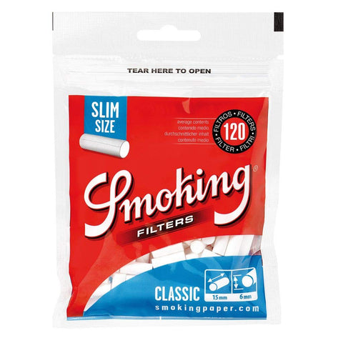 Smoking Classic Cotton Filters Slim Size - 120 Tips
