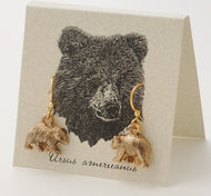 14K Gold Plate Bear Earrings