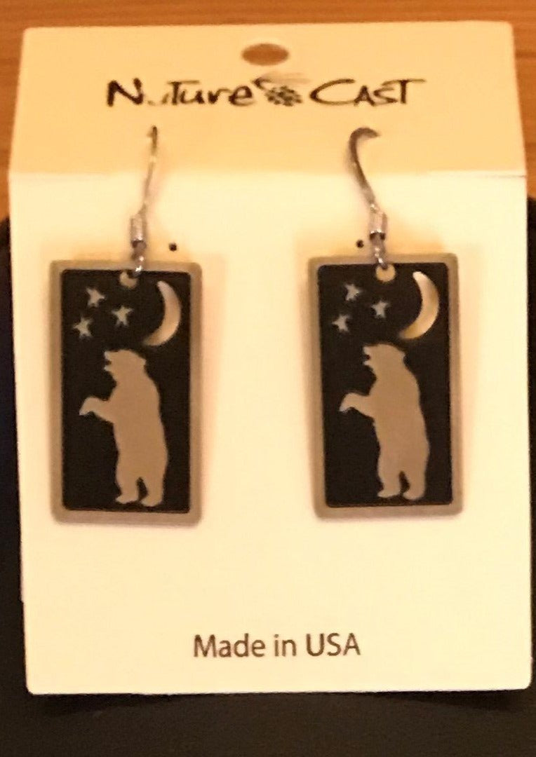 Nature Cast  Earring Dangle Rectangle Dancing Bear