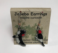 Jabebo Red Headed Woodpecker Earrings